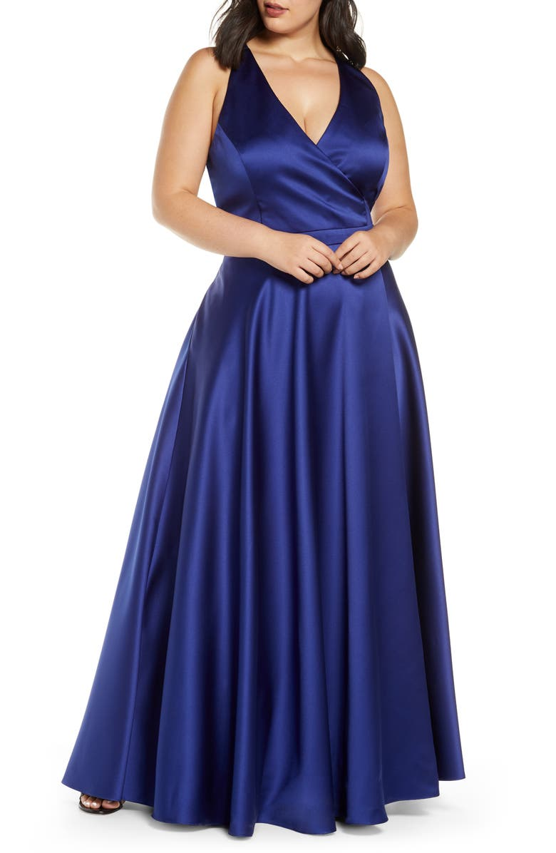 XSCAPE Satin A-Line Gown, Main, color, ROYAL