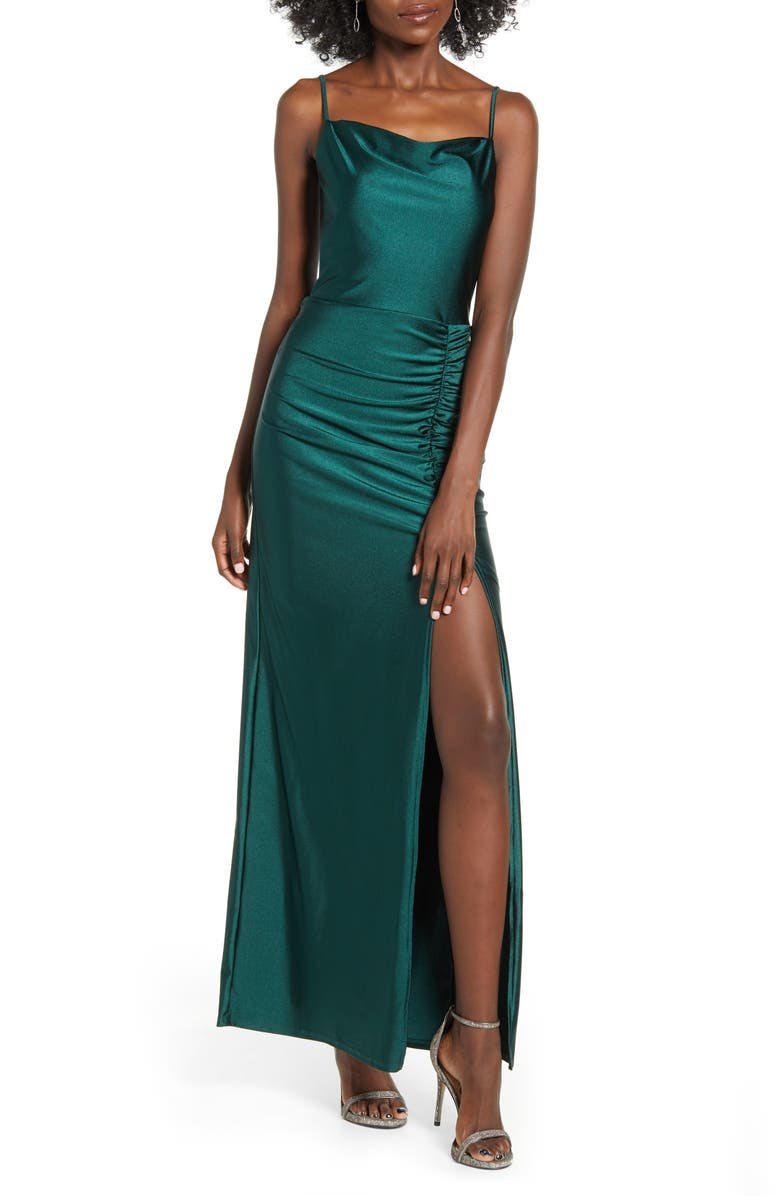 SPEECHLESS Ruched Side Slit Stretch Satin Maxi Dress, Main, color, 300