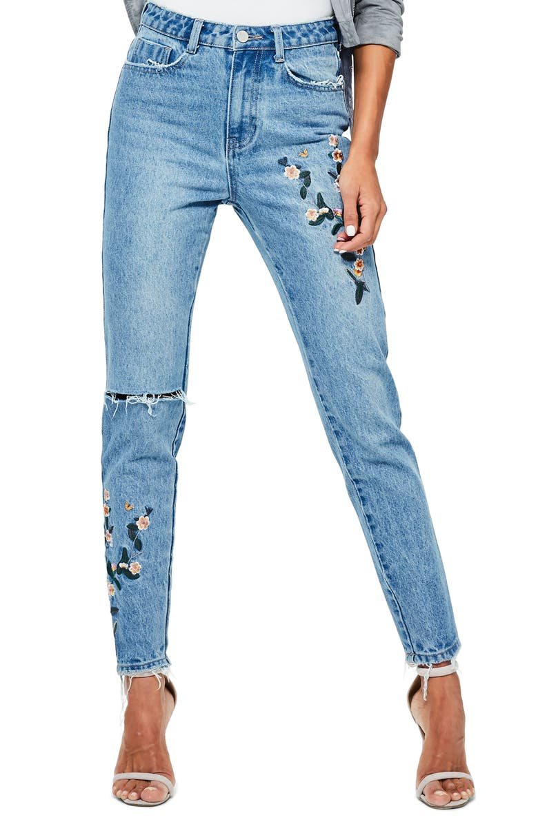 MISSGUIDED Riot Ripped High Waist Embroidered Jeans, Main, color, 400