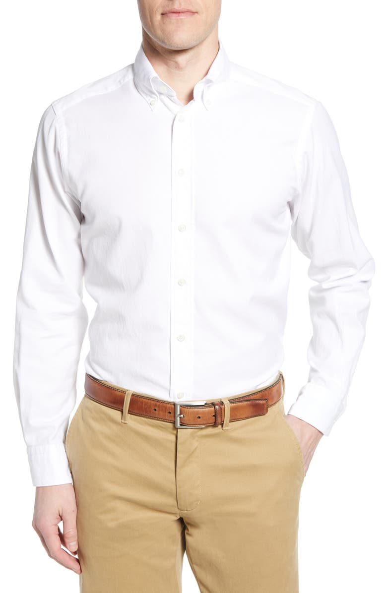 ETON Soft Casual Line Contemporary Fit Oxford Casual Shirt, Main, color, White