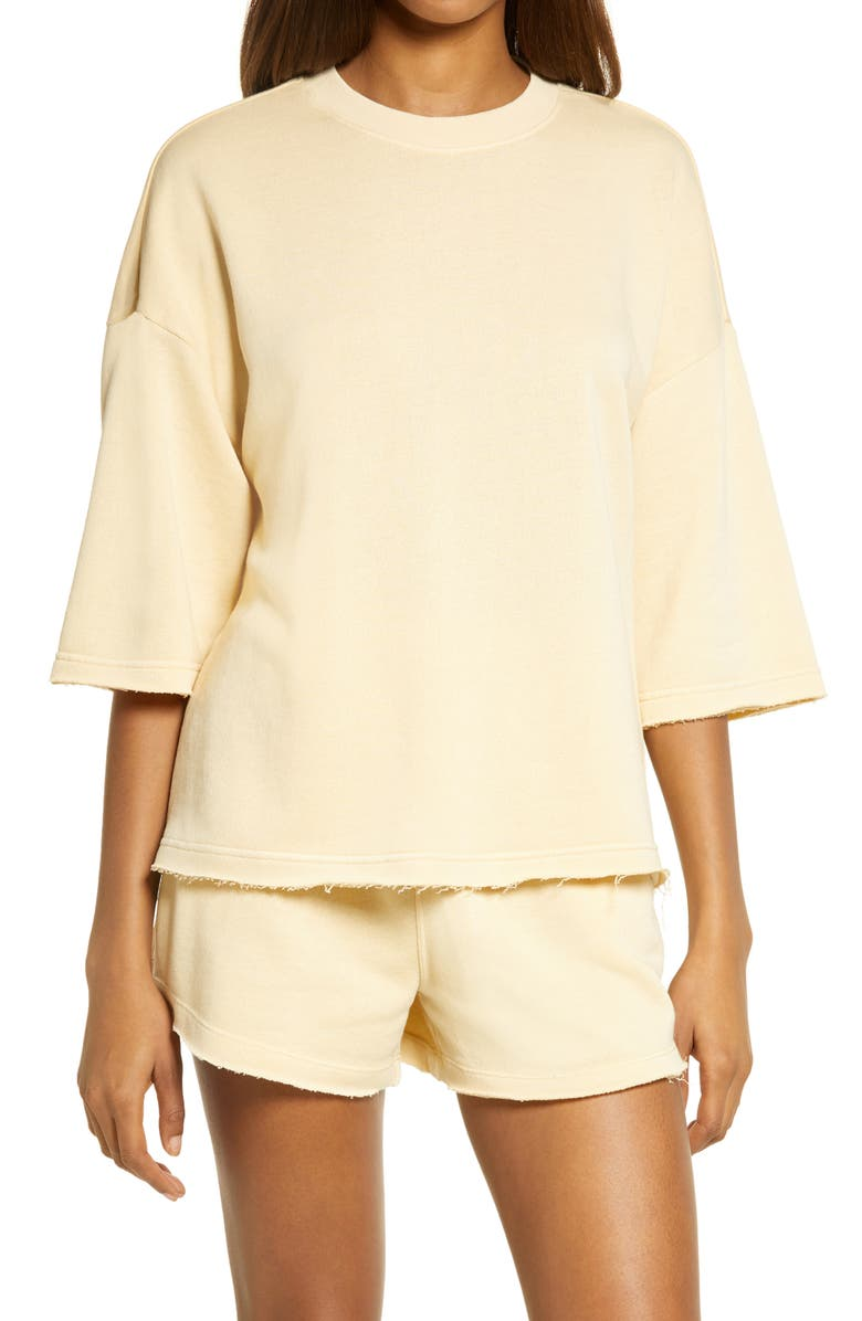 TREASURE & BOND Short Sleeve Sweatshirt, Main, color, TAN BISCOTTI