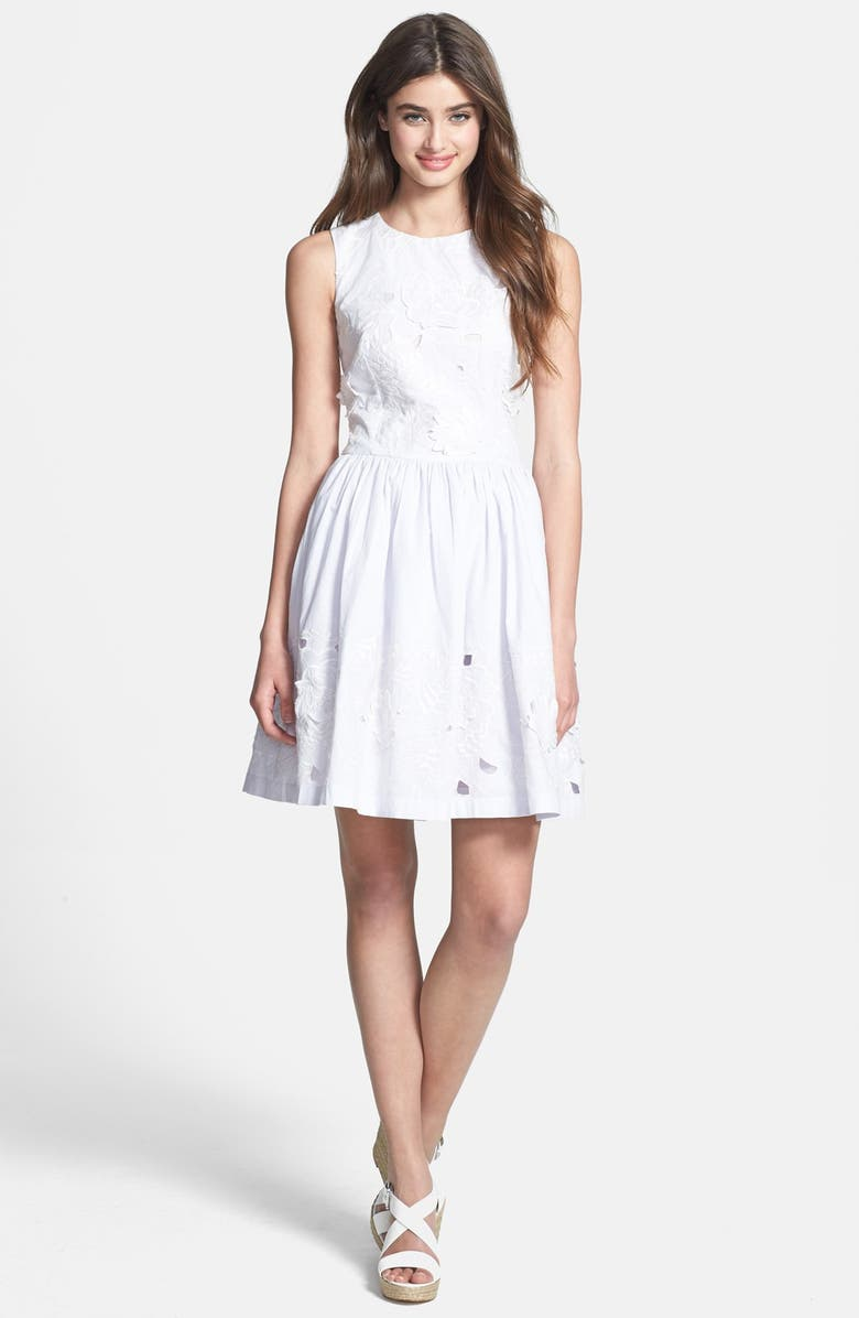 FRENCH CONNECTION Lotus Cutout Cotton Fit & Flare Dress, Main, color, 020