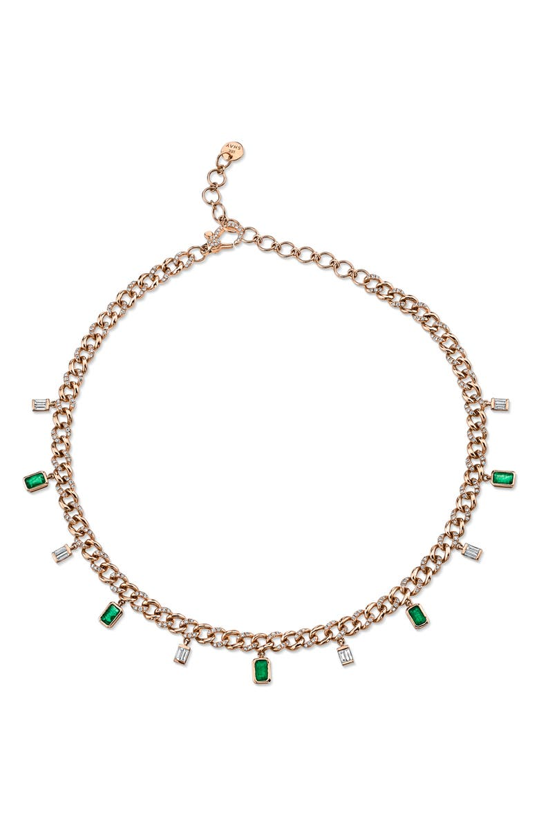 SHAY Diamond & Emerald Baguette Link Choker Necklace, Main, color, DIAMOND