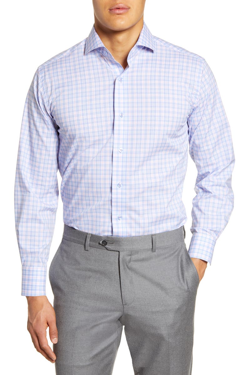 LORENZO UOMO Trim Fit Stretch Plaid Dress Shirt, Main, color, 450