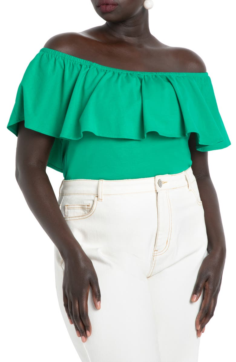 ELOQUII Off the Shoulder Ruffle Top, Main, color, JELLY BEAN