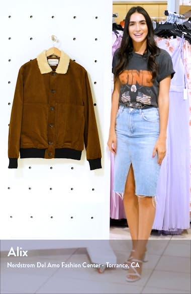 Linfield Stretch Corduroy Bomber Jacket with Faux Shearling Collar, sales video thumbnail
