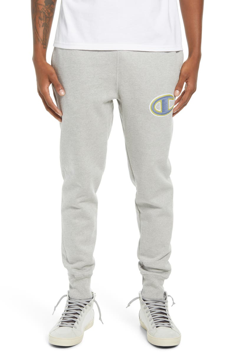 CHAMPION Reverse Weave<sup>®</sup> Embroidered Logo Sweatpants, Main, color, OXFORD GRAY