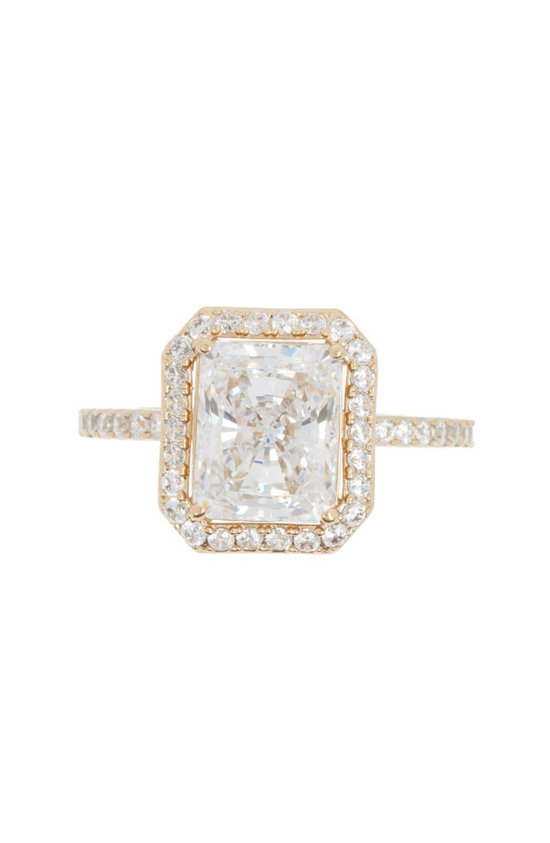 NADRI Gold Rectangle CZ Ring - Size 7, Main, color, GOLD