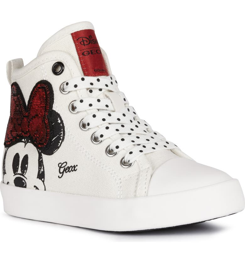 GEOX Ciak Minnie Mouse Sneaker, Main, color, OFF WHITE/ RED