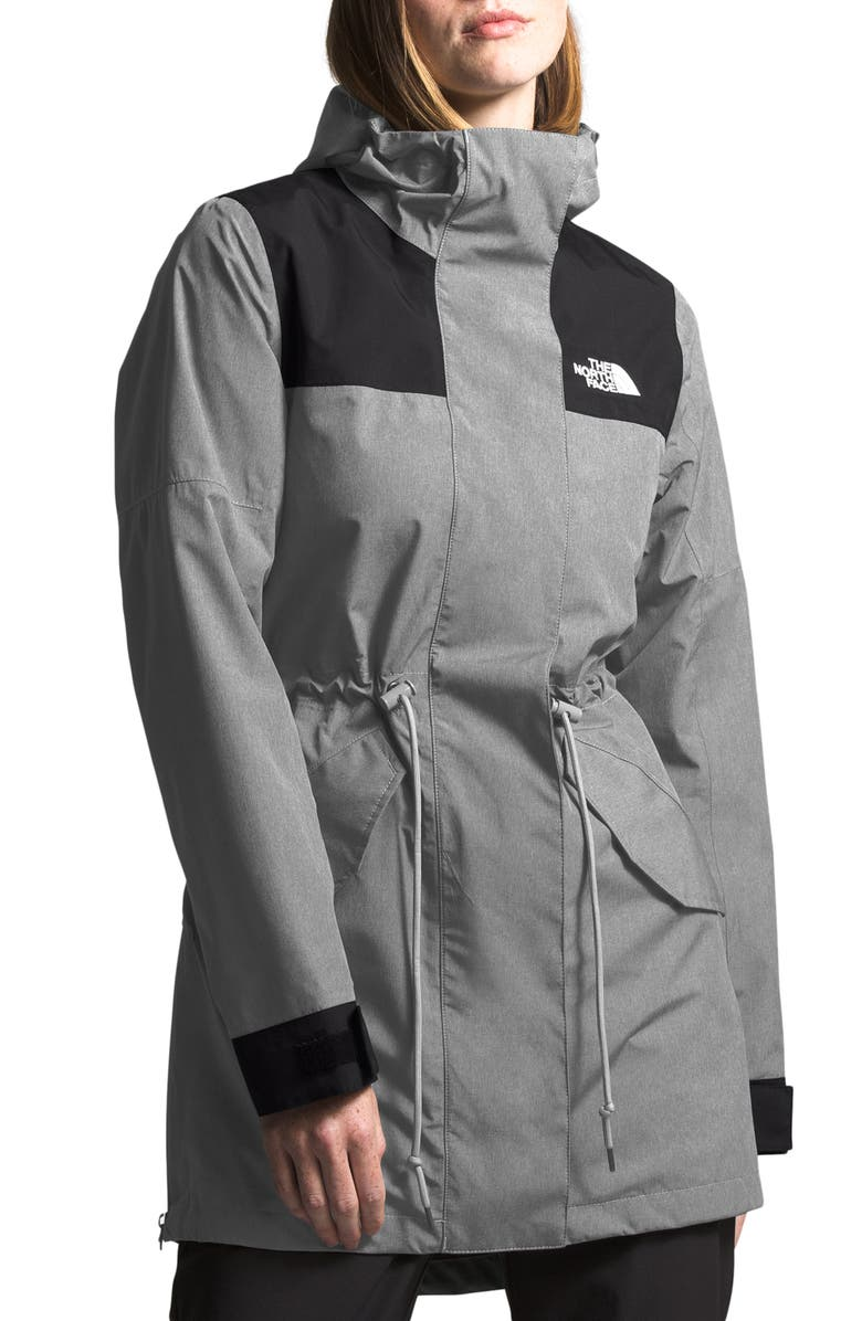 THE NORTH FACE Metroview Trench Water Repellent & Windproof Rain Coat, Main, color, MEDIUM GREY HEATHER/ BLACK