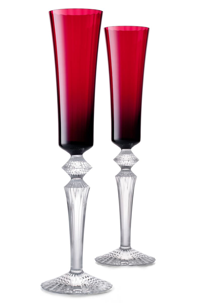 BACCARAT Mille Nuits Flutissimo Set of 2 Lead Crystal Flutes, Main, color, 600