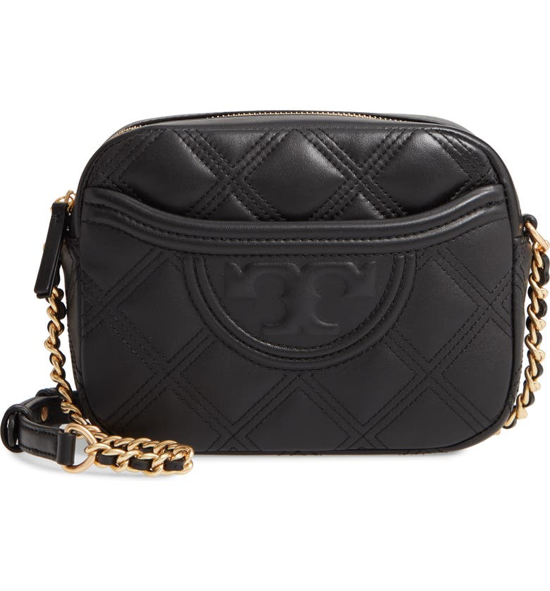 TORY BURCH Fleming Quilted Leather Camera Bag, Main, color, 001
