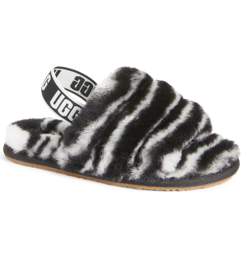 UGG<SUP>®</SUP> Fluff Yeah Genuine Shearling Slipper, Main, color, 001
