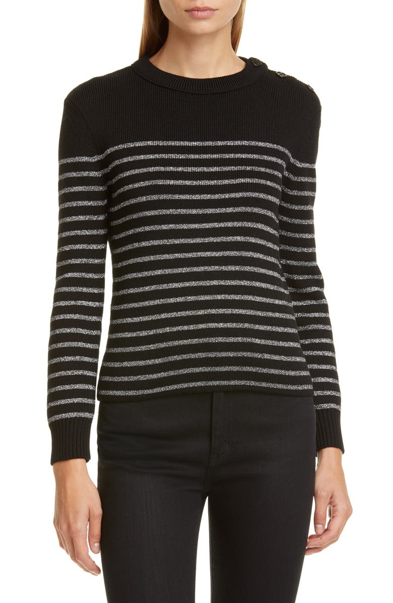 SAINT LAURENT Shimmer Stripe Wool Blend Sweater, Main, color, 001
