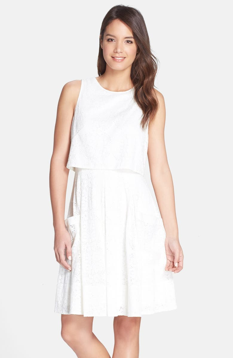ADRIANNA PAPELL Eyelet Lace Popover Dress, Main, color, IVORY