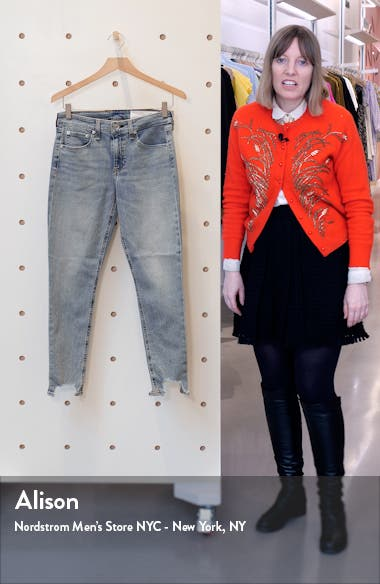 Cate Mid Rise Frayed Ankle Skinny Jeans, sales video thumbnail
