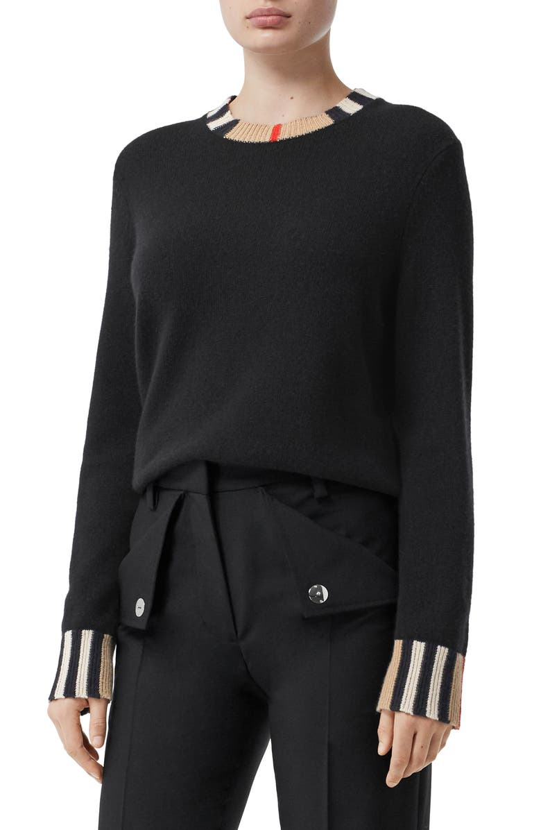 BURBERRY Eyre Cashmere Sweater, Main, color, BLACK