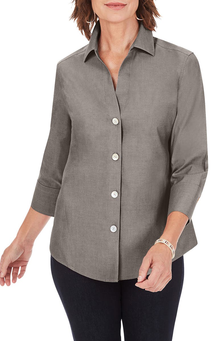 FOXCROFT Paityn Non-Iron Cotton Shirt, Main, color, CHARCOAL
