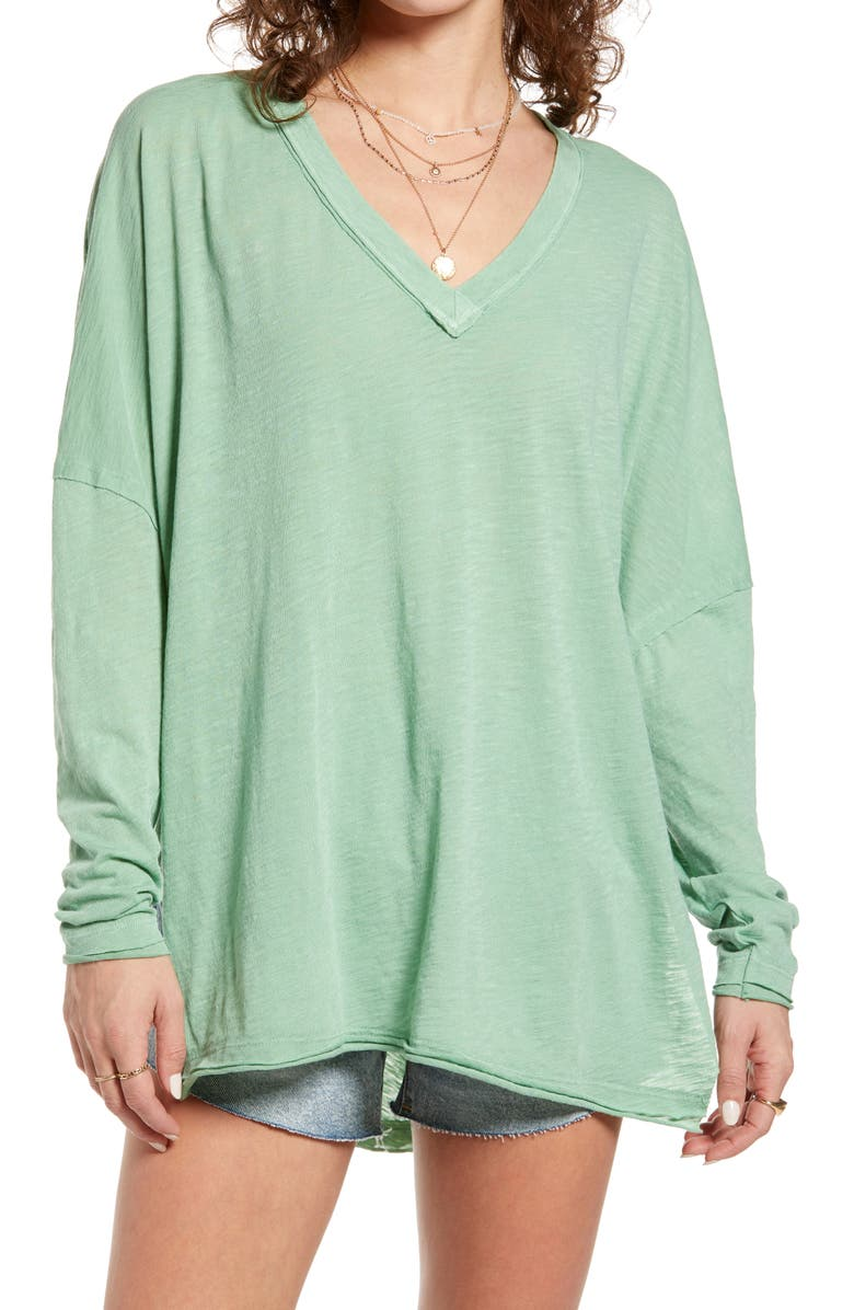 FREE PEOPLE On My Mind V-Neck Shirt, Main, color, COOL MOSS