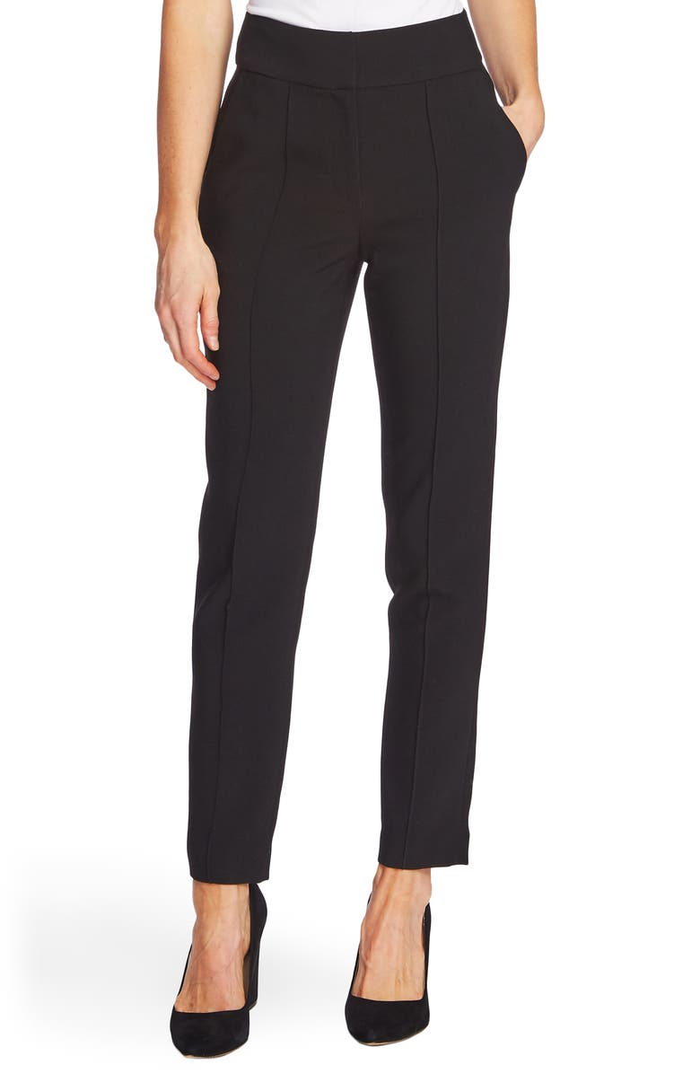 VINCE CAMUTO Pintuck Stretch Crepe Skinny Pants, Main, color, RICH BLACK