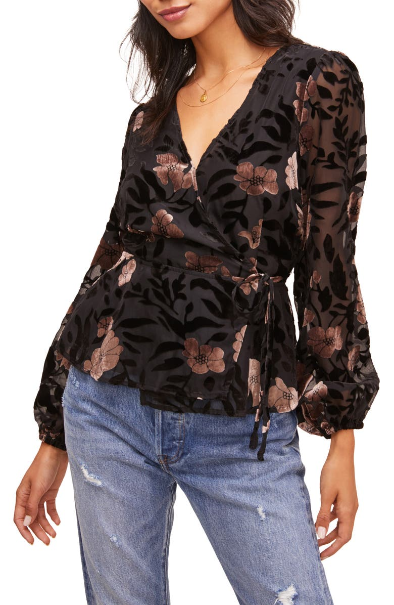 ASTR THE LABEL Velvet Burnout Wrap Top, Main, color, 001