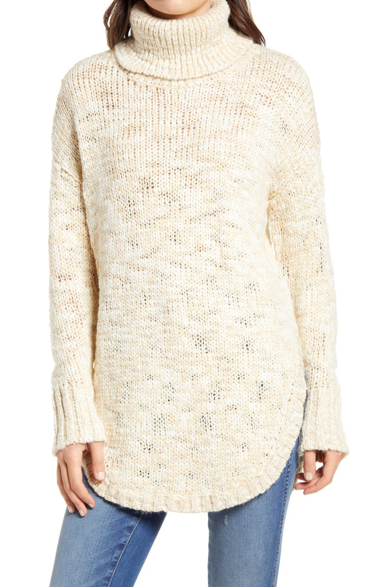 TREASURE & BOND Turtleneck Sweater, Main, color, IVORY- IVORY FOG COMBO