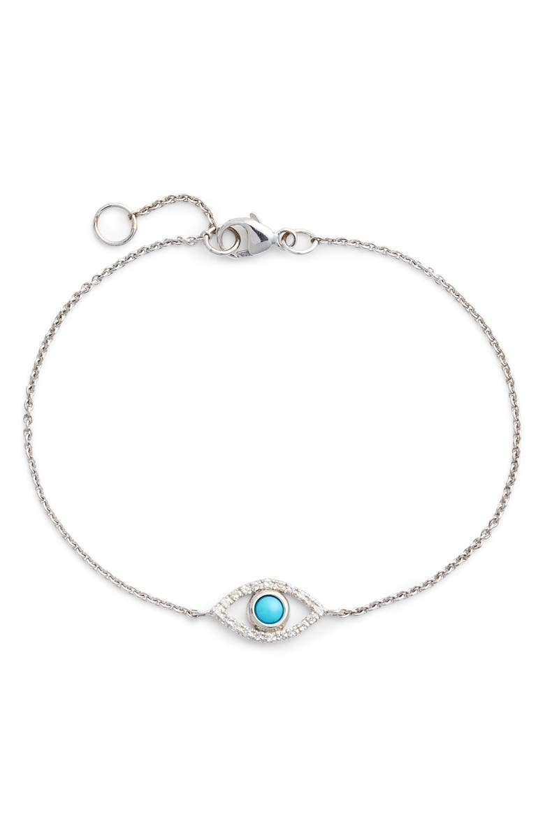 ANZIE Evil Eye Turquoise Bracelet, Main, color, SILVER/ BLUE