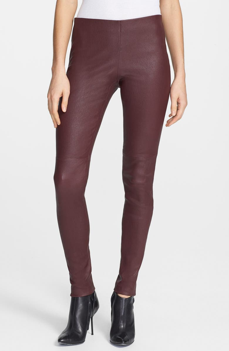 THEORY 'Pialle' Leather Skinny Pants, Main, color, DARK RUBY