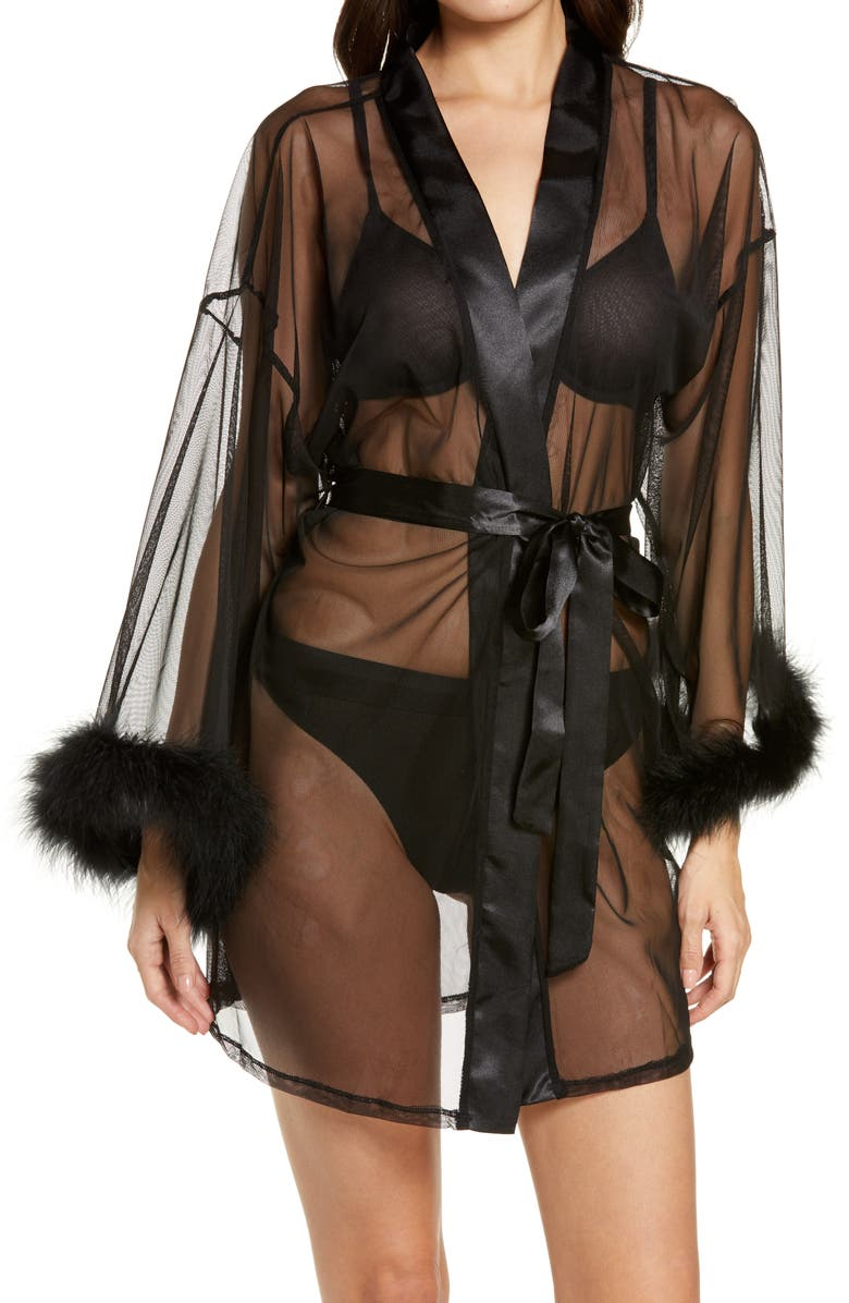 IN BLOOM BY JONQUIL Magic Feather Trim Wrap, Main, color, BLACK