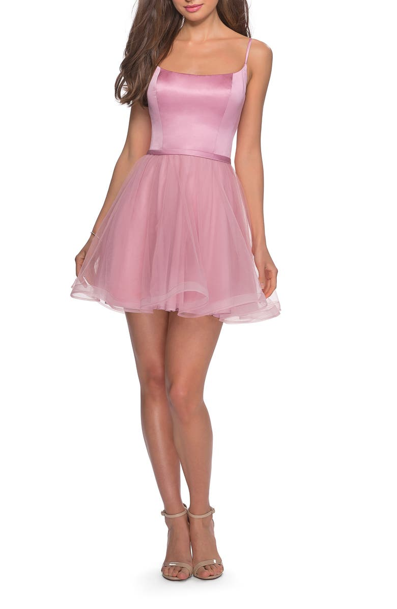 LA FEMME Satin & Tulle Fit & Flare Dress, Main, color, BLUSH