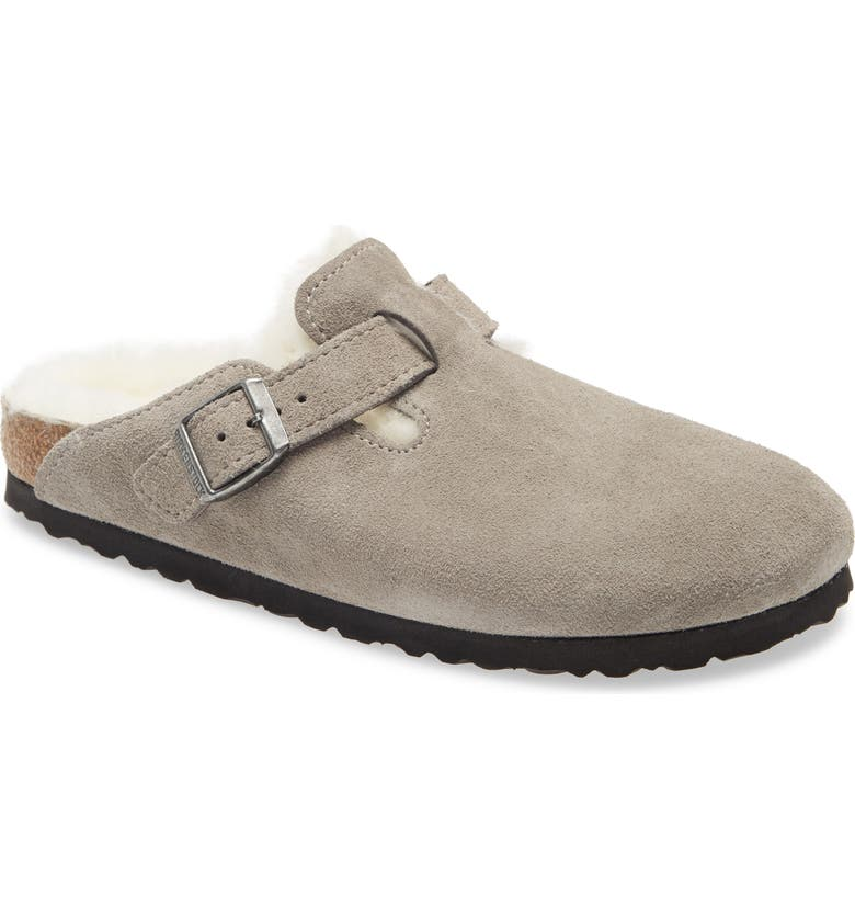 BIRKENSTOCK Boston Genuine Shearling Lined Clog, Main, color, STONE COIN SUEDE