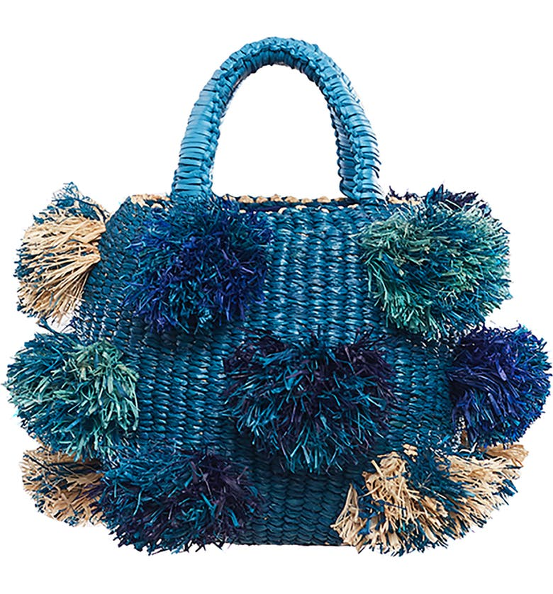 A A K S AAKS Mini Nowa Bowl Raffia Woven Clutch, Main, color, BLUE/ NAVY/ NATURAL