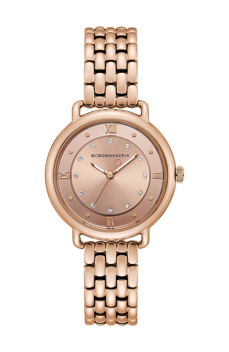 BCBGMAXAZRIA Women's Transparency Japanese-Quartz Stainless Steel Watch, 34mm, Main, color, ROSE GOLD