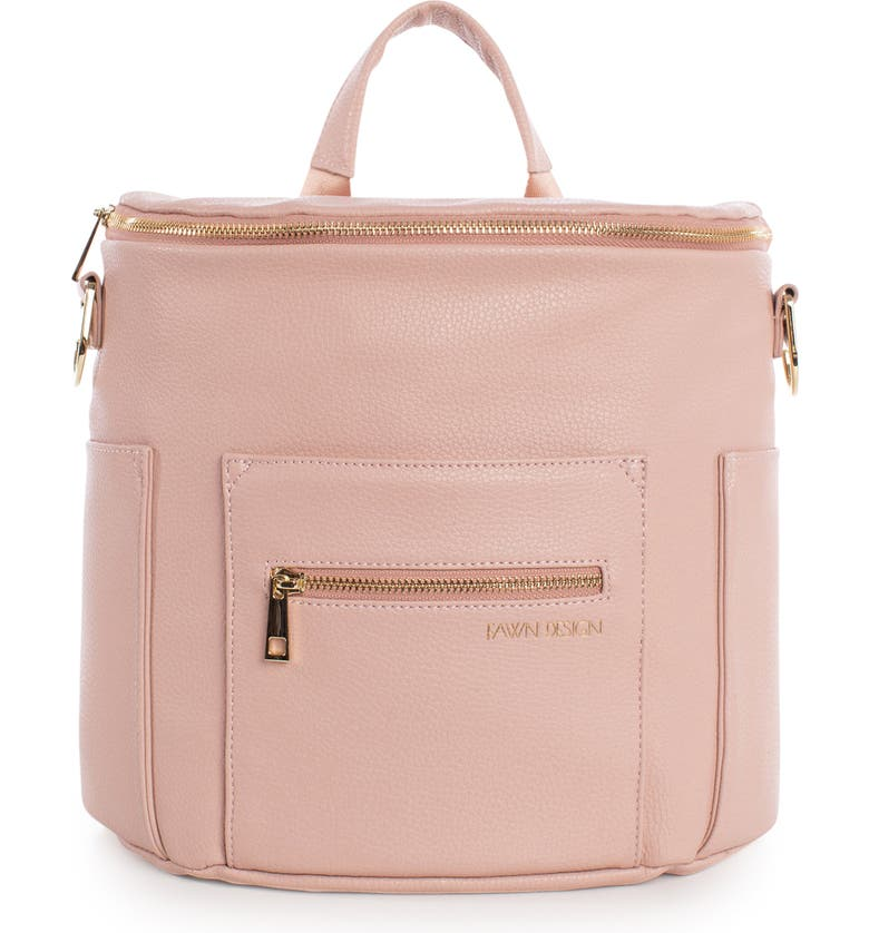 FAWN DESIGN The Mini Convertible Water Resistant Faux Leather Diaper Bag, Main, color, BLUSH