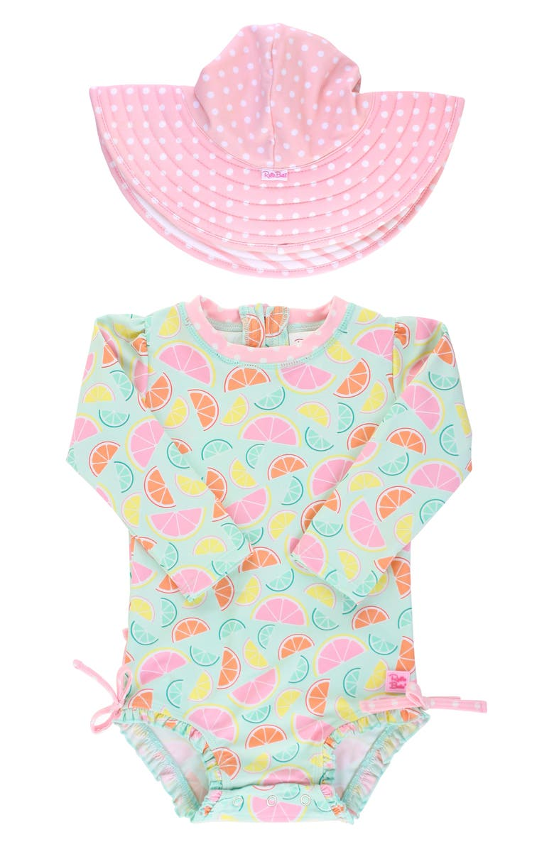 RUFFLEBUTTS Squeeze the Day One-Piece Rashguard Swimsuit & Reversible Sun Hat Set, Main, color, 650