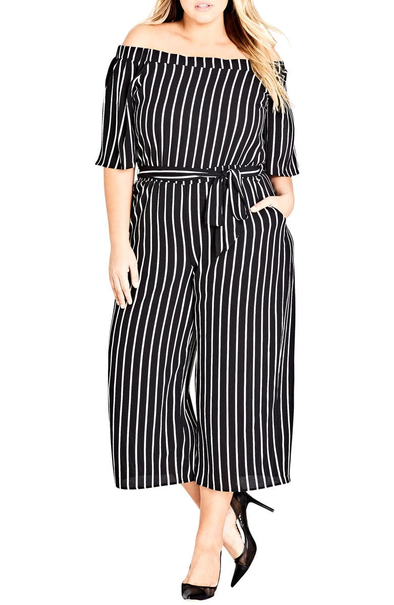 CITY CHIC Stripe Play Jumpsuit, Main, color, 001