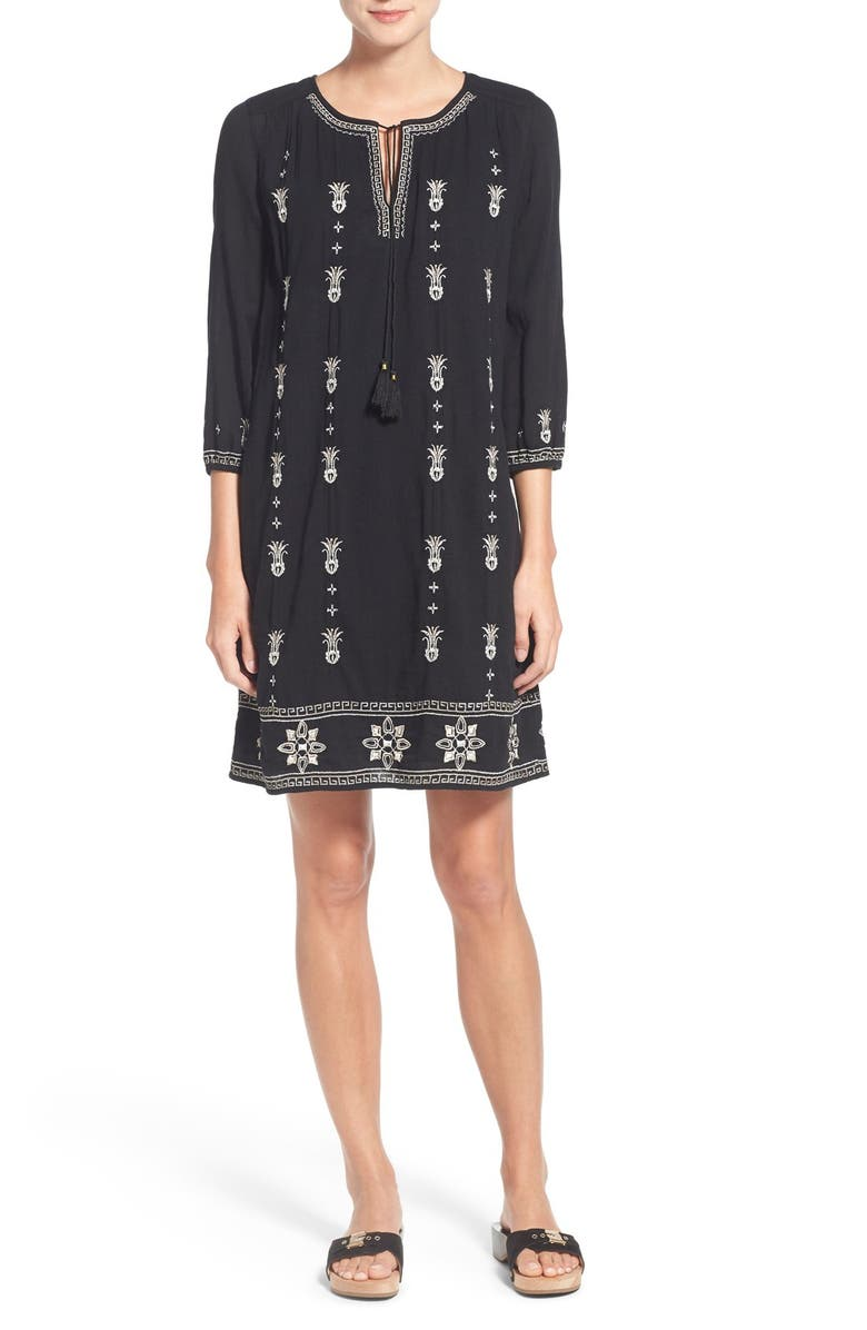 CASLON<SUP>®</SUP> Three-Quarter Sleeve Embroidered Shift Dress, Main, color, BLACK WOODS EMBROIDERY