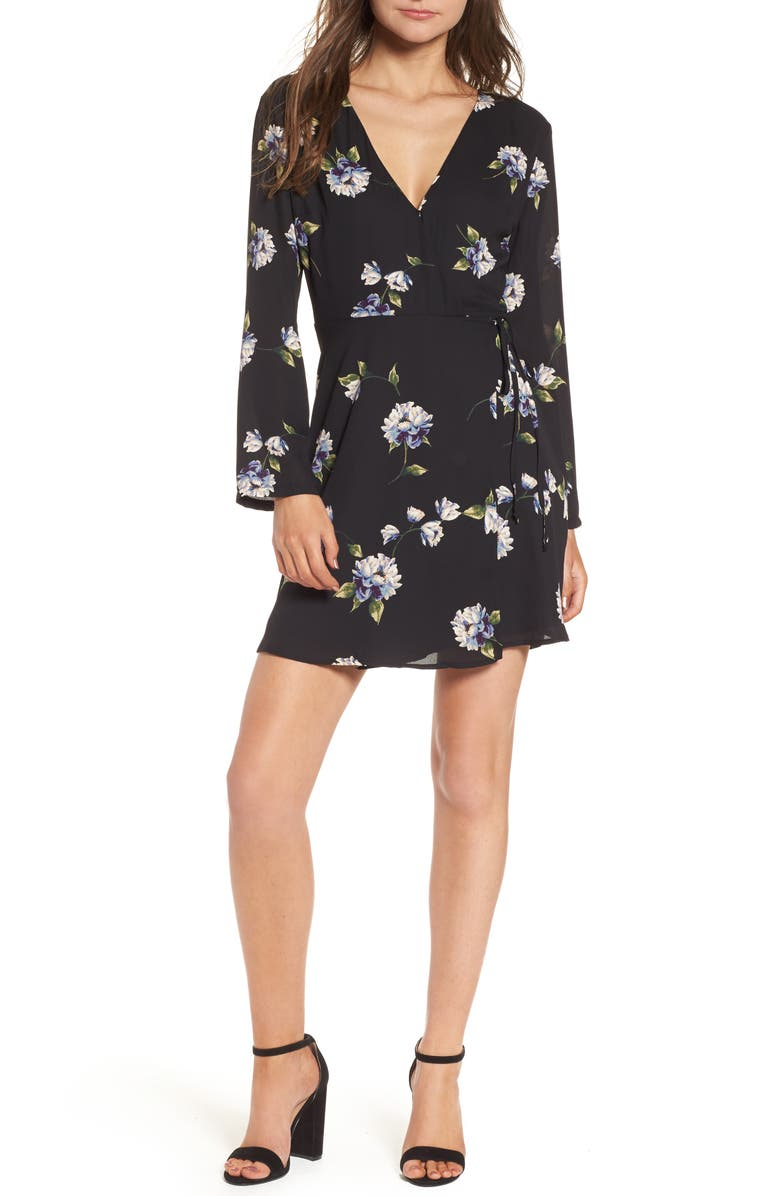 ALL IN FAVOR Elly Wrap Dress, Main, color, 001