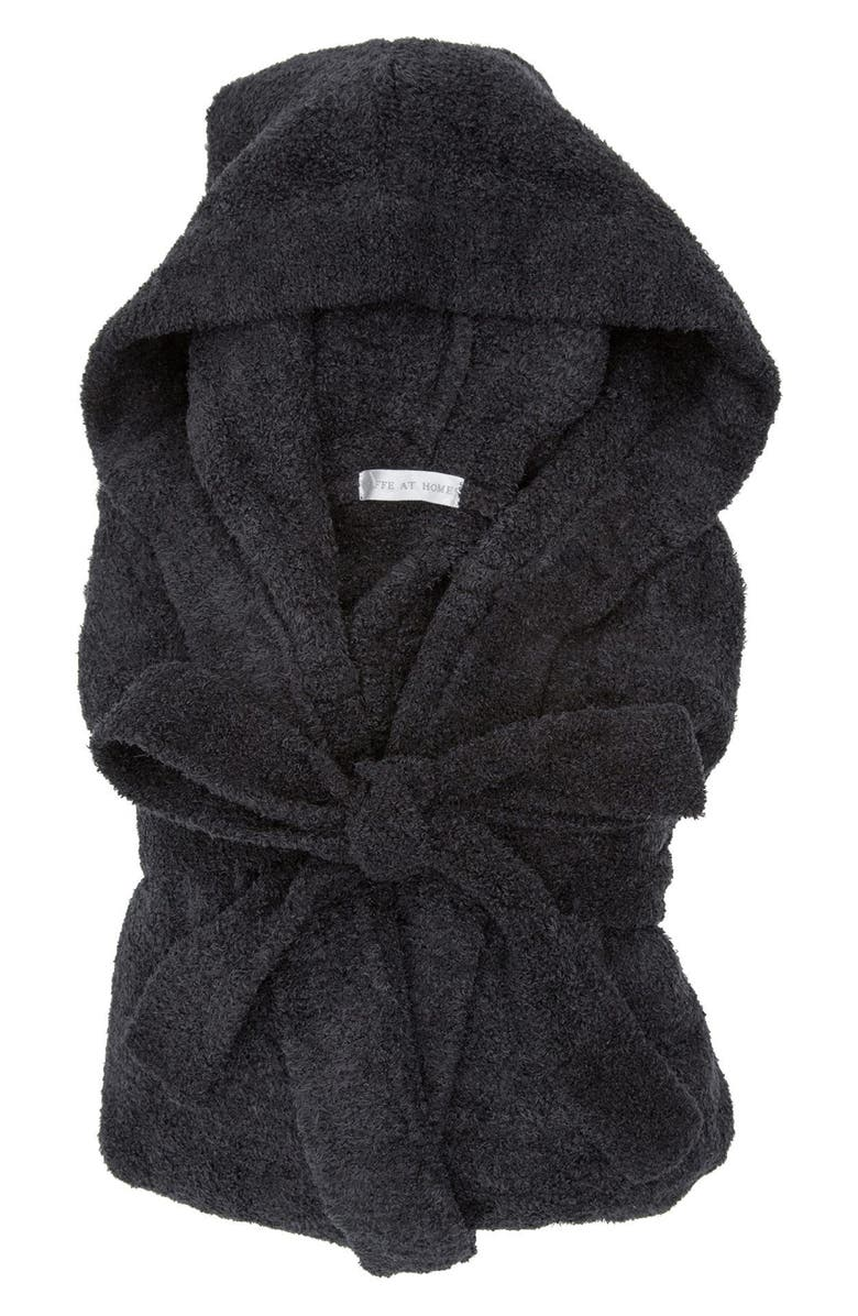 GIRAFFE AT HOME Dolce Chenille Hooded Robe, Main, color, ONYX