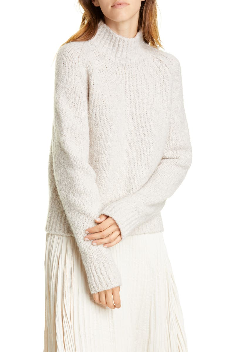 VINCE Textured Sleeve Wool, Silk & Cashmere Turtleneck Sweater, Main, color, 280