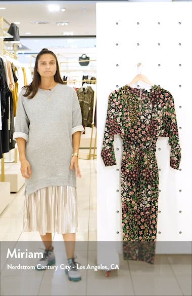 Long Sleeve Belted Floral Midi Dress, sales video thumbnail