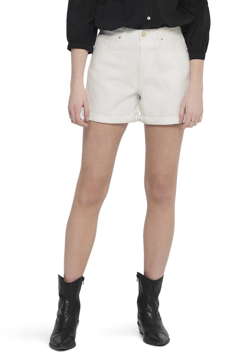 ONLY High Waist Cuffed Shorts, Main, color, 100