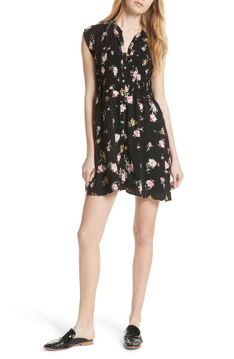 FREE PEOPLE Greatest Day Smocked Minidress, Main, color, 001
