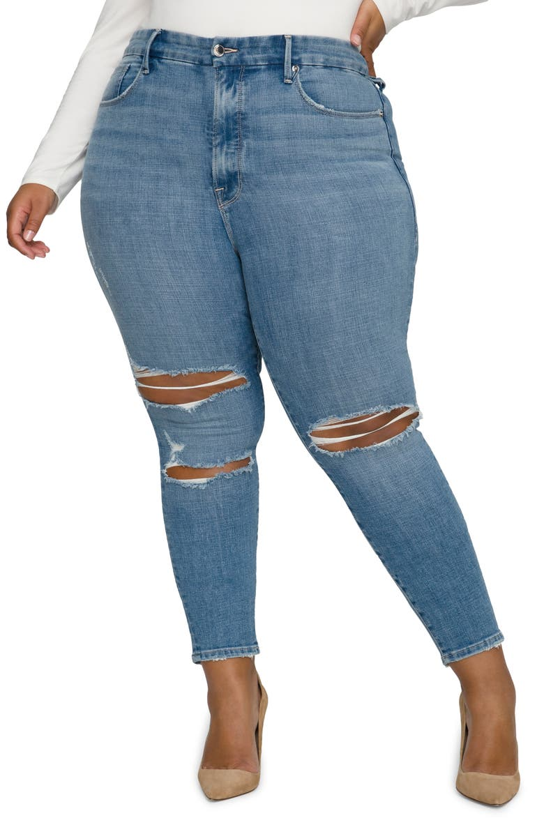 GOOD AMERICAN Good Legs Crop Jeans, Main, color, BLUE617