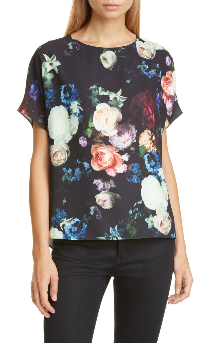 ADAM LIPPES Floral Print Crepe Blouse, Main, color, 001