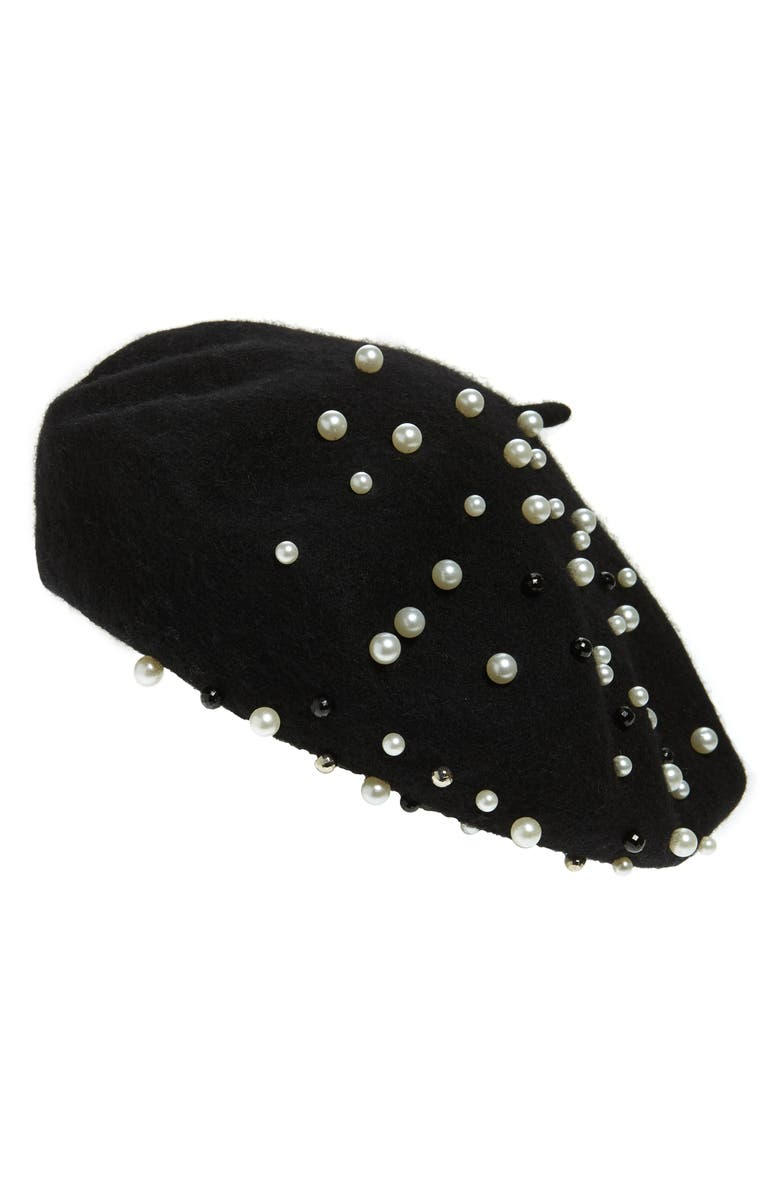 HALOGEN<SUP>®</SUP> x Atlantic-Pacific Embellished Beret, Main, color, 001