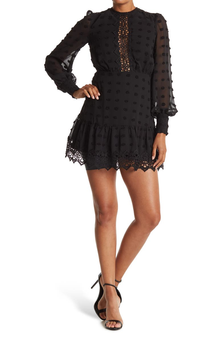 LOVE BY DESIGN Rina Dotted Chiffon Lace Trim Dress, Main, color, BLACK