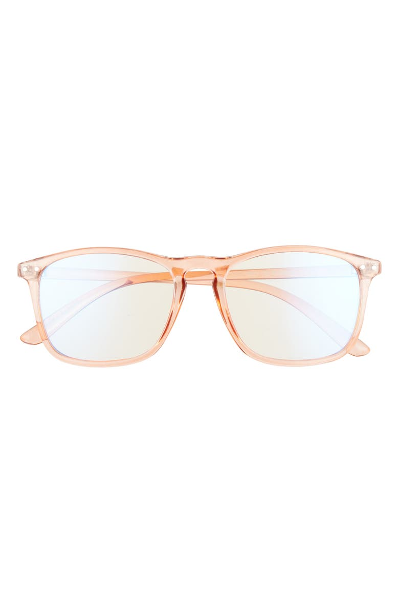 BP. 52mm Blue Light Blocking Square Glasses, Main, color, CLEAR NUDE