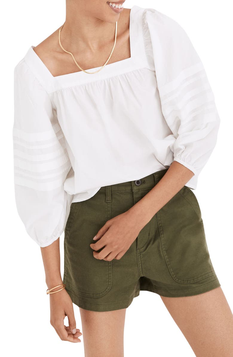 MADEWELL Square Neck Pleat Sleeve Top, Main, color, EYELET WHITE