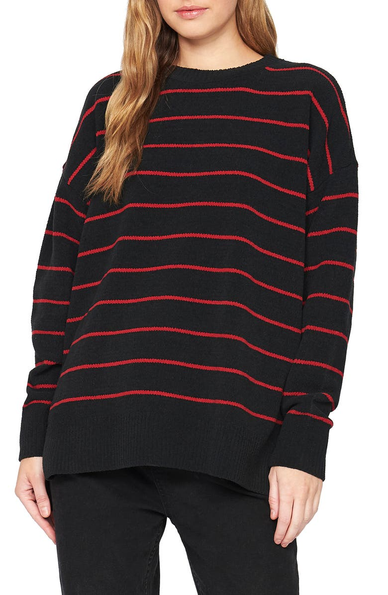 SANCTUARY Everyday Stripe Tunic Sweater, Main, color, 001